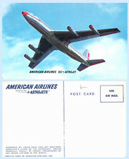 American Airlines 707 Astrojet Jet Aircraft in Flight Advertising Postcard