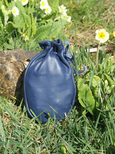 LEATHER DRAWSTRING POUCH BUSHCRAFT SURVIVAL MONEY PURSE FISHING BLUE BAG L
