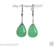 Fashion Genuine Top Dongling jade drop Dangle 925 Sterling Silver hook Earrings