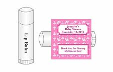 20 Personalized Lip Balm Glossy Baby Shower Girl Umbrella Favor Labels Stickers