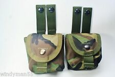 2 MOLLE II HAND GRENADE POUCHES WOODLAND CAMOFLAGE LIGHTLY USED VGC