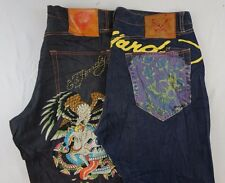 Ed Hardy Lot of 2 Men's Black Dark Wash Straight Leg/Shorts Jeans 40 x 31 O14113