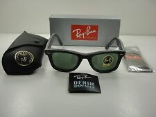 RAY-BAN WAYFARER DENIM SUNGLASSES RB2140 1162 BLACK/GREEN CLASSIC LENS 50MM