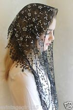 NEW  Black Mantilla Veil ClassicEmbroidered Chapel Veil Triangle Free Ship