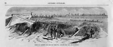 Stampa antica VERCELLI PONTE della FERROVIA con soldati nel 1859 Old print
