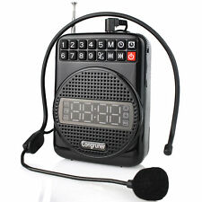 Portable Microphone FM Radio Clock Alarm 20W Voice Amplifier Booster Loudspeaker