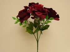 "2 Bushes BURGUNDY Open Rose 7 Artificial Silk Flowers 15"" Bouquet 039BU"