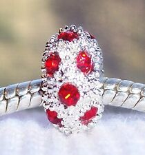 July Birthstone Red Rhinestone Ring Bead for Silver European Charm Bracelets