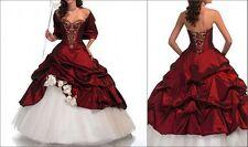 Klassischen Elegant,Mode Rot+Weiß Hochzeitsklei Brautkleid, Abendkleid Ballkleid