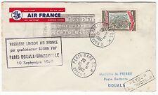LETTRE  PREMIER VOL AIR FRANCE  PARIS/ DOUALA CAMEROUN 1960 RETOUR A L ENVOYEUR
