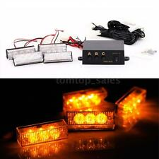 12V Amber 12 LED Car Front Grille Deck Emergency Warning Lights Strobe Lamp O0OC