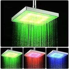 Hot 8 inch Temperature 3 Color #S Square Bathroom LED Light Rain Top Shower Head