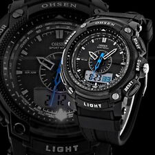 OHSEN Black Waterproof Digital LCD Day Alarm Mens Military Sport Rubber Watch UR