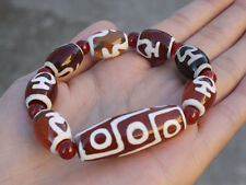 Big Tibetan Large Barrel 9-eye Agate dZi Kalasa Beaded Bracelet -Strong Energy!