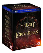 HOBBIT AND LORD OF THE RINGS EXTENDED TRILOGY BOX SET 30 DISC BLU-RAY REG B NEW