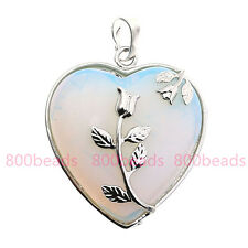 Opal Opalite Gemstone Love Heart Pendant For Necklace Chain Silver Plated Flower