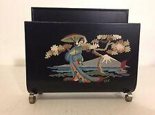 Vintage 50s Toleware Japanese Geisha Paint By Number Napkin Holder Mt Fuji Asian