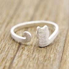 Damen Matt Katze Ring Cat Ringe Silber Kätzchen Katzenring Offener Fingerring
