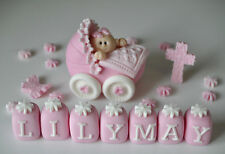 EDIBLE HANDMADE BABY GIRL IN PRAM CHRISTENING CAKE TOPPER DECORATION NAME CROSS