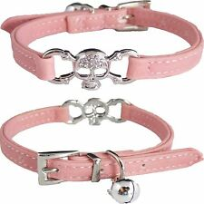 Small Cute Pink Skull & Bones PU Leather Bling BELL Cat Kitten Glamour Collar