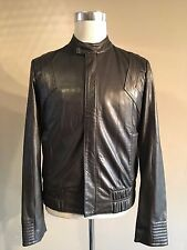 ROBERTO JUST CAVALLI LEATHER CAFE RACER BIKER JACKET SIZE 46 MEDIUM RRP £950