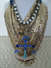 NWT Auth Betsey Johnson Ship Shape Blue Anchor Goldtone Bib Statement Necklace
