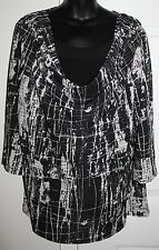 Susan Lawrence Woman 2x Black White Cowl Neckline 2fer Blouse 3/4 Slvs
