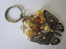 Keyring / Bag Charm - Bronze Filigree Butterfly - Brown Pearl & Crystal