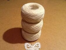 YARN for Bobbin LACE. LINEN FLAX 75 %.  3 x 50 g 1-ply. Color milk white