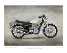 Motorcycle Limited Edition Print - Triumph T160 Trident (yellow)