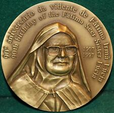 FATIMA - SISTER LUCIA /O. LADY FATIMA & BLESSED SHEPHERDS 90mm 1997 BRONZE MEDAL