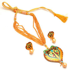 Handmade Meena Work Pearl Polki Jade Orange Color Gold Finish Pendant Set 7134