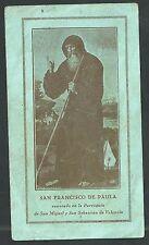 Estampa antigua de San Francisco de Paula andachtsbild santino holy card santini