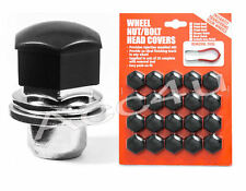 21mm Hex Black Plastic Car Alloy Wheels Wheel Nut / Bolt Head 20 Caps Covers Set