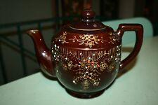 Vintage Japan Moriage 4 Cup Brown Betty Red Ware Tea Pot Mid-Century
