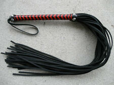 NEW RED Cat Of 36 SLIM Tails Flogger Black/Red Leather 9 Nine - HORSE TRAINER