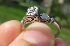14K VINTAGE ANTIQUE ART DECO HEARTS OLD CUT DIAMOND ENGAGEMENT WEDDING RING