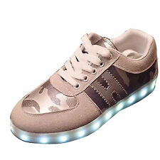 Cool Men Suede LED Light Shoes Luminous Camouflage Sneakers Running Trainer Grey