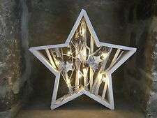 Heaven Sends white wooden light up star with twig cone and star detail 38cm