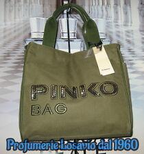 """Borsa PINKO BAG """" Idrostatica """" Verde Militare Nylon ed Ecopelle"""