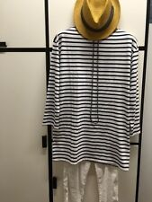 Veritecoeur FREE SIZE DARK NAVY Striped Ballet Neck TUNIC DRESS