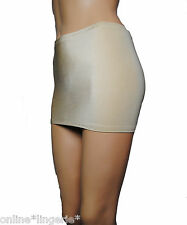 SIZE 4-6 PALE GOLD NUDE SATIN LYCRA MICRO MINI SKIRT PARTY HOLIDAY DANCER CS21