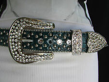 New Women Belt Buckle Turquiose Blue Leather Western Boot Horseshoe Silver S / M