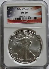 2012 American Eagle 1 Oz Silver Dollar Coin MS 69
