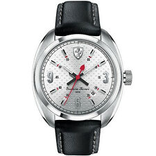 FERRARI SCUDERIA Mens Black Leather Watch NEW! 0830240 $235