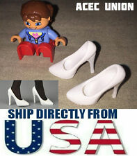 "U.S. SELLER - 1/6 Scale High Heel Pumps Shoes WHITE For 12"" Female Figures"