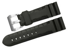 24mm Black Silicone Rubber Leather Wristband Matte Clasp Watch Strap For Panerai