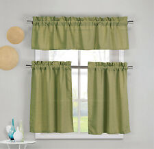 3 Piece Faux Cotton Moss Green Kitchen Window Curtain Panel Set