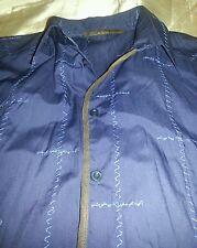 camicia shirt CLASS by roberto cavalli cotone e  pelle nappata leather size 52 L