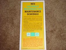 1973 Corvette Factory GM Original Maintenance Schedule GM Part Number 6259669 B